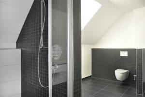 Geräumiges Badezimmer, Toilette und Dusche